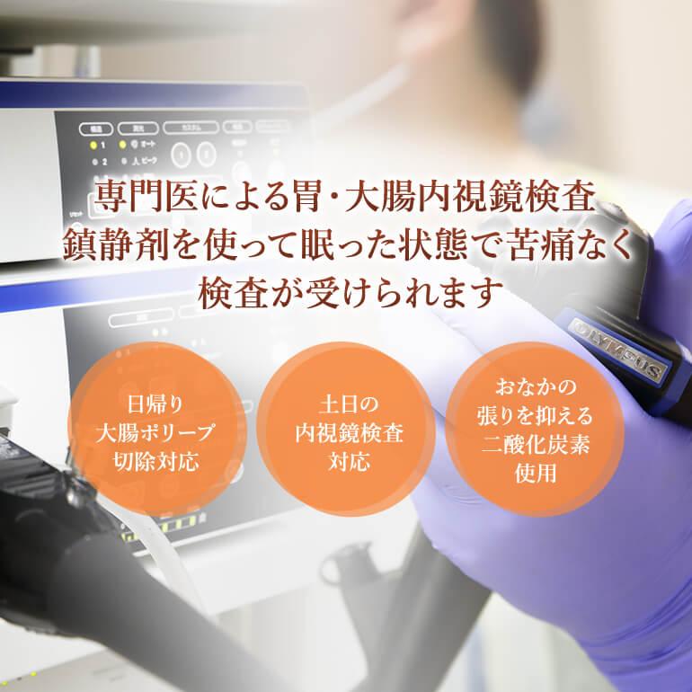 専門医による胃・大腸内視鏡検査 鎮静剤を使って眠った状態で苦痛なく検査が受けられます